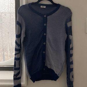 Kenzo Paris blue white sailor stripe cardigan S